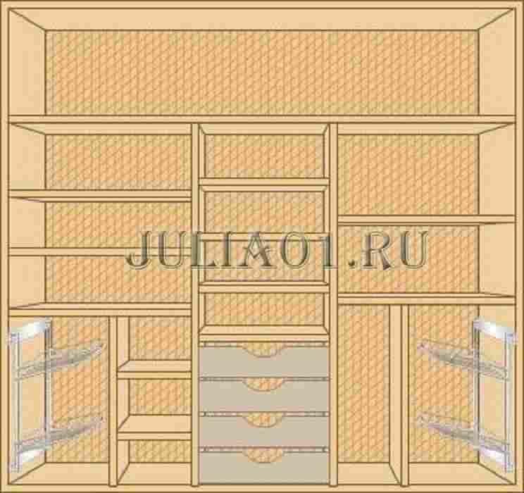 Шкафы купе трехдверные  внутри